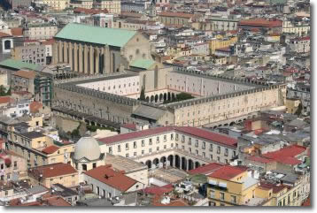 aerial image of the historical center of Naples