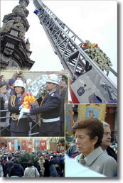 insieme di immagini della cerimonia di offerta dei fiori all'Immacolata
