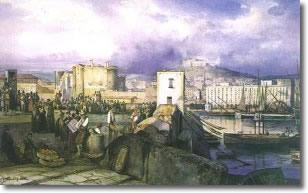 tela raffigurante antichi pescatori che si intrattengono sul molo con reti e barche