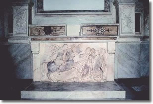 marble altar with the bas-relief