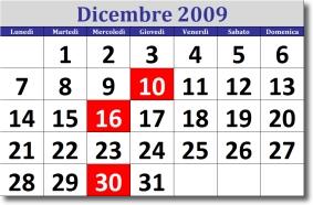 calendario di dicembre 2009