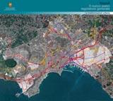 carta delle trasformazioni urbane previste dal nuovo Prg, inquadrata nell'area metropolitana ripresa dal satellite