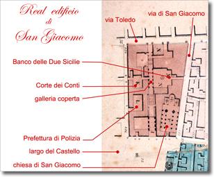 pianta del Real Palazzo di San Giacomo elaborazione da cartografia del milleottocentosessanta