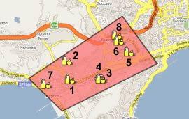 piantina stradale con evidenziati i mercati della municipalità 10