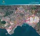 carta delle trasformazioni previste dal nuovo Prg, inquadrata nell'area metropolitana ripresa dal satellite
