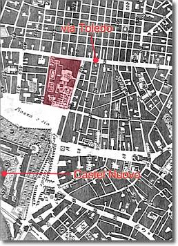 antica mappa con evidenziata l'area prima della costruzione del Palazzo dei Ministeri di Stato