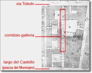antica stampa raffigurante la pianta del palazzo dei Ministeri di Stato con evidenziato il corridoio galleria