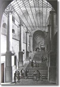 antica stampa raffigurante il passaggio coperto nel palazzo dei Ministeri di Stato