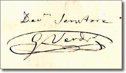 formula di rispetto e firma autografa di Giuseppe Verdi, particolare da lettera datata 3 febbraio 1871