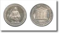 medaglia raffigurante statua di santa Lucia e facciata della chiesa dedicata alla santa
