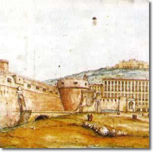 antica tela raffigurante il castello ed in lontananza, su di una collina, una fortezza