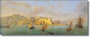 stampa antica raffigurante un castello circondato dal mare