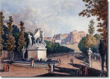 Il Toro Farnese nella Villa Reale (dipinto di S. Della Gatta)