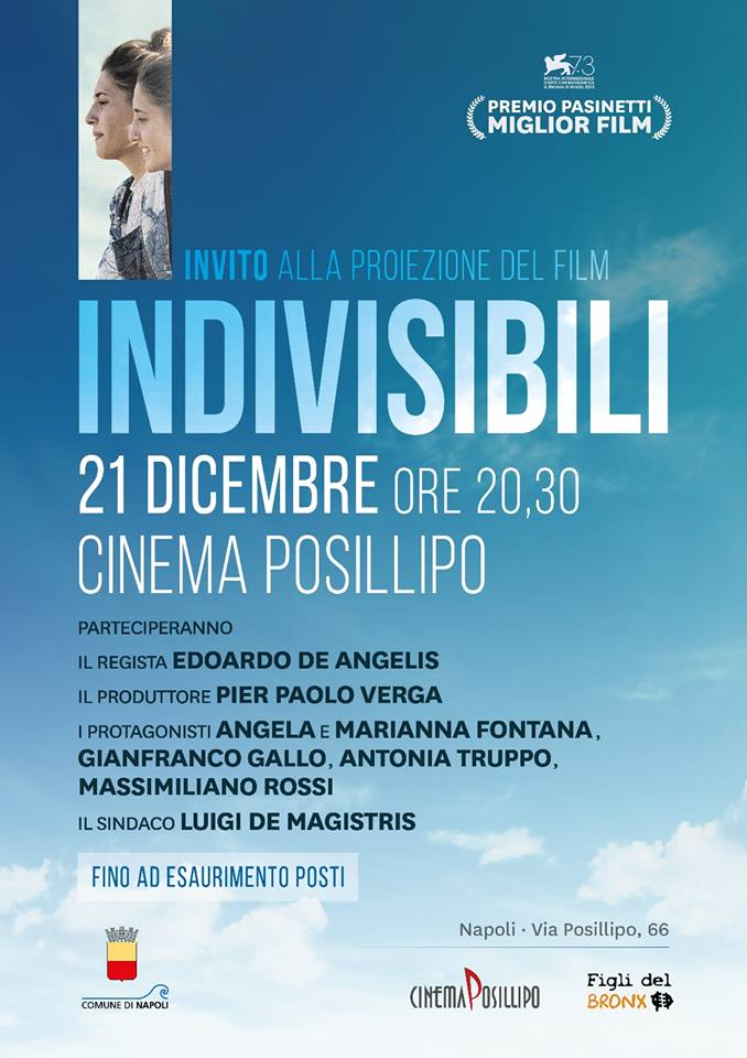 """Invito alla proiezione del film """"Indivisibili"""""""