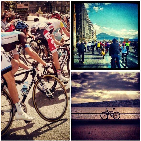 Persone in bicicletta sul lungomare di Napoli