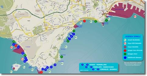 mappa della balneazione di Napoli