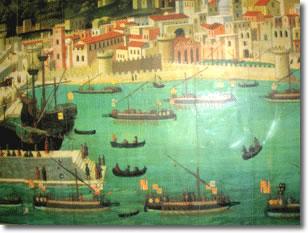 tavola strozzi, quadro raffigurante l'antica città di napoli vista dal mare