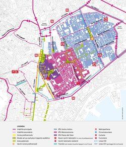 Planimetria con l'area interessata dalla ZTL Centro Antico
